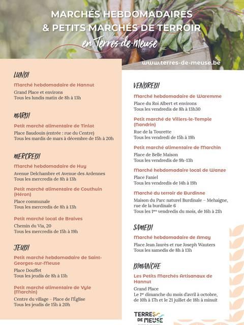 Liste des marchés hebdomadaires en Hesbaye et dans le Condroz