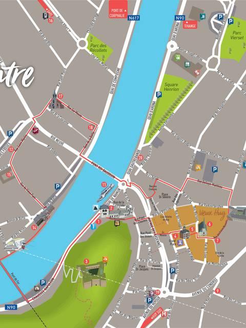 Plan du centre de Huy