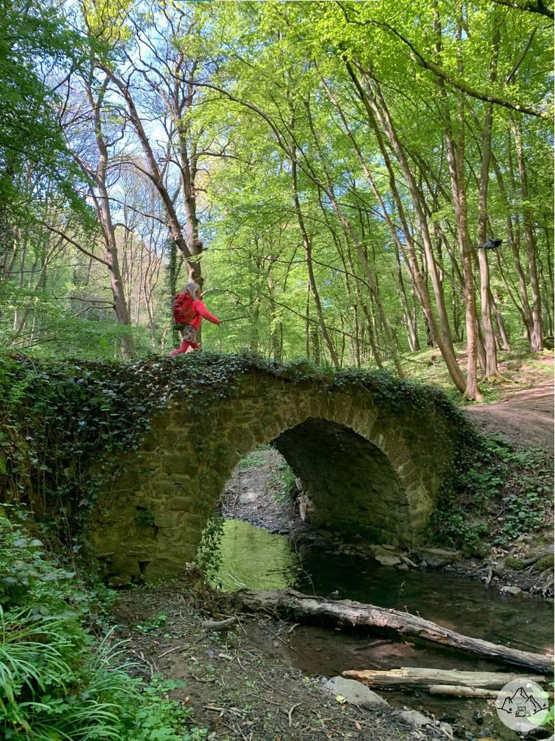 Jeune fille traversant un pont en pierre