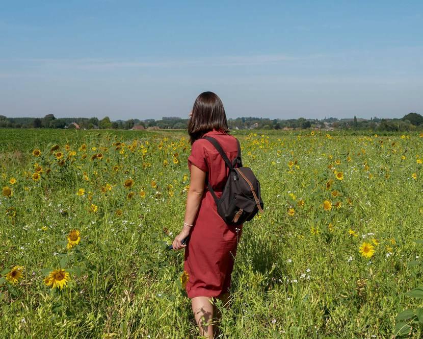 Demoiselle se promenant dans les champs