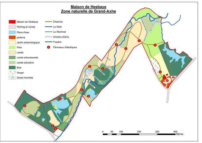 plan de la zone naturelle de Grand-Axhe