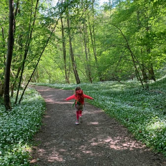Jeune fille se promenant dans les bois