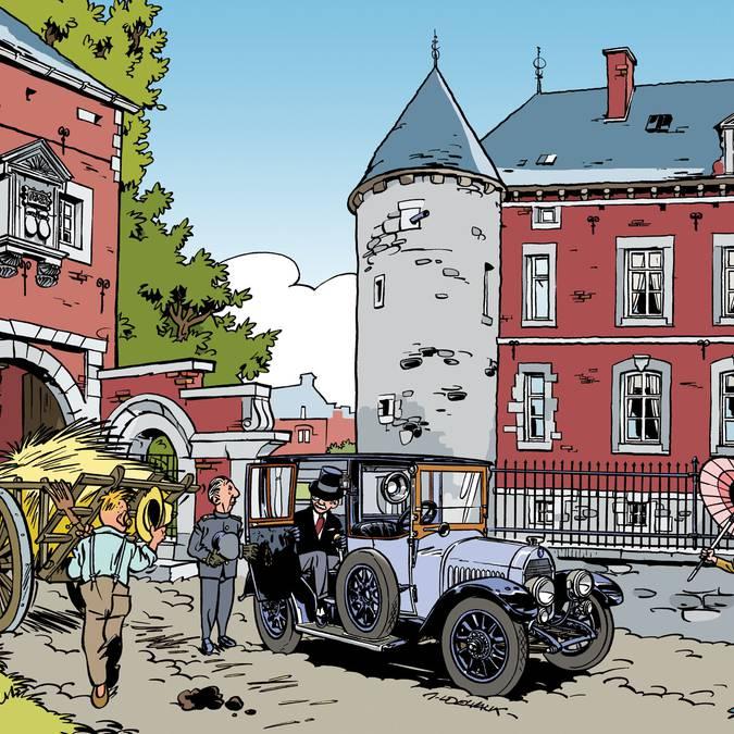 Dessin du château et de la ferme castrale d'Hermalle-sous-Huy
