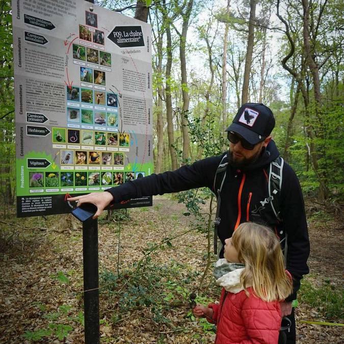 Un papa et sa fille devant un panneau d'information